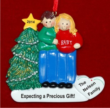Expecting Couple Christmas Ornament Blond Female Brunette Male Personalized by Russell Rhodes