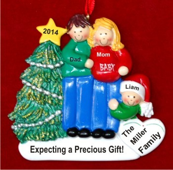 Excited & Expecting Couple 1 kid MBR FBL Personalized Christmas Ornament Personalized by Russell Rhodes