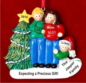 Excited & Expecting Couple 1 kid MBL FBR Christmas Ornament Personalized by Russell Rhodes