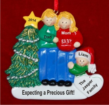 Excited & Expecting Couple 1 kid both Blond Christmas Ornament