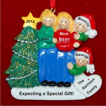 Excited & Expecting Couple 2 kids both Blond Christmas Ornament Personalized by Russell Rhodes