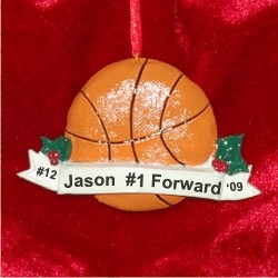 Basketball with Banner Christmas Ornament Personalized by Russell Rhodes