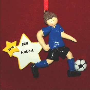 Brunette Boy Soccer Personalized Christmas Ornament