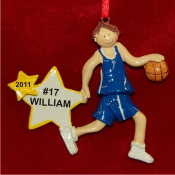 Brunette Boy Basketball Star Personalized Christmas Ornament