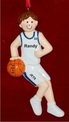 Basketball Male Brown Hair White Uniform with Blue Piping Personalized Christmas Ornament Personalized by Russell Rhodes