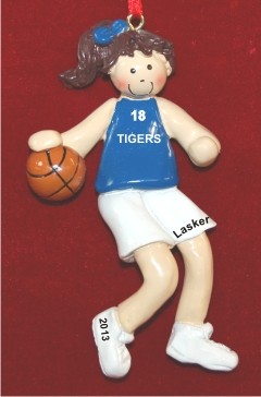 Basketball Female Brunette Blue Uniform Christmas Ornament Personalized by Russell Rhodes