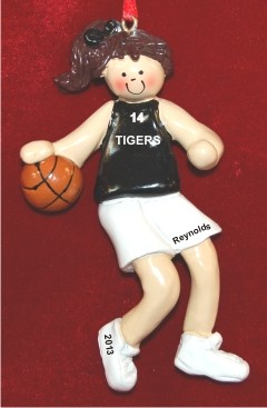 Basketball Female Brunette Black Uniform Personalized Christmas Ornament