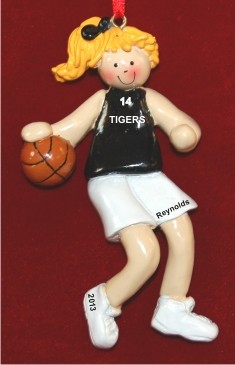 Basketball Female Blond Black Uniform Personalized Christmas Ornament