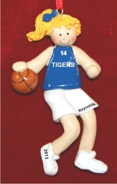 Basketball Female Blond Blue Uniform Personalized Christmas Ornament