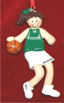 Basketball Female Brunette Green Uniform Christmas Ornament Personalized by Russell Rhodes