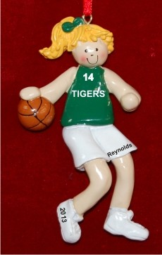 Basketball Female Blond Green Uniform Christmas Ornament