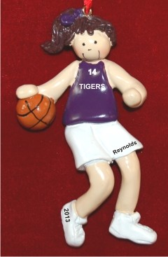Basketball Female Brunette Purple Uniform Christmas Ornament Personalized by Russell Rhodes