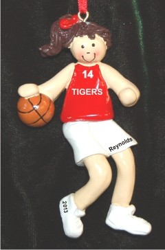 Basketball Female Brunette Red Uniform Christmas Ornament Personalized by Russell Rhodes