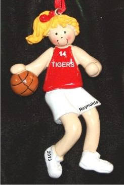 Basketball Female Blond Red Uniform Christmas Ornament