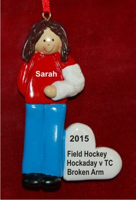 Broke My Arm Female Brunette Christmas Ornament Personalized by Russell Rhodes