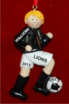 Soccer Blond Male Black Uniform Christmas Ornament Personalized by Russell Rhodes