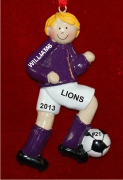 Soccer Blond Male Purple Uniform Christmas Ornament Personalized by Russell Rhodes