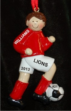 Soccer Brunette Male Red Uniform Christmas Ornament Personalized by Russell Rhodes