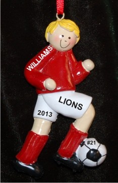 Soccer Blond Male Red Uniform Christmas Ornament Personalized by Russell Rhodes