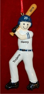 Baseball Boy Blue Uniform Christmas Ornament Personalized by Russell Rhodes