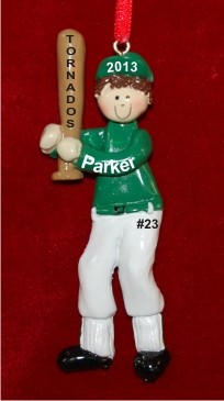 Baseball Male Green Uniform Brunette Personalized Christmas Ornament