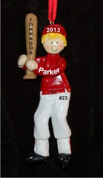 Baseball Male Red Uniform Blond Christmas Ornament Personalized by Russell Rhodes