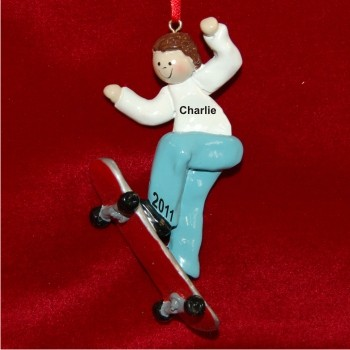 Brunette Boy Skateboarding Personalized Christmas Ornament
