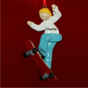 Blonde Boy Skateboarding Christmas Ornament
