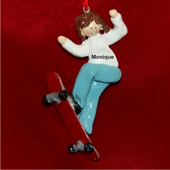 Brunette Girl Skateboarding Christmas Ornament