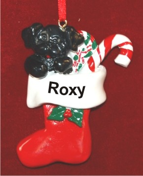 Black Puppy in Holiday Stocking Personalized Christmas Ornament