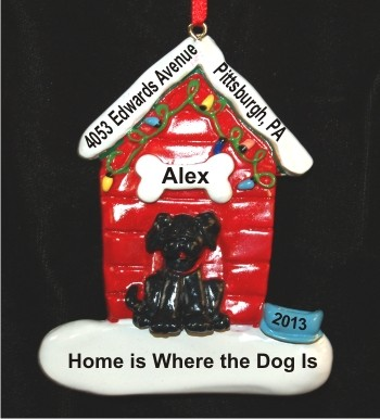 Black Dog with Holiday Dog House Christmas Ornament
