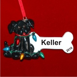 Black Dog Christmas Ornament Personalized by Russell Rhodes