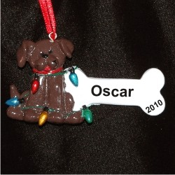 brown dog christmas ornament
