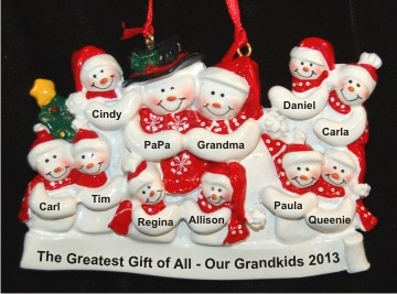 Grandparents with 9 Grandkids & Christmas Tree Christmas Ornament Personalized by Russell Rhodes