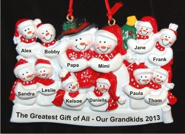 Grandparents with 10 Grandkids & Christmas Tree Christmas Ornament Personalized by Russell Rhodes