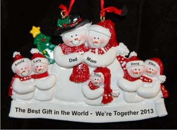 Snuggling Together Snowman Family of 7 Christmas Ornament