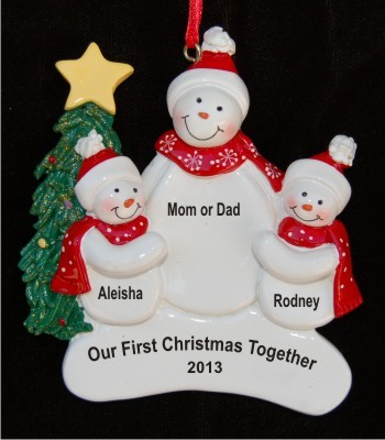 Our First Christmas Single Parent with 2 Children Christmas Ornament