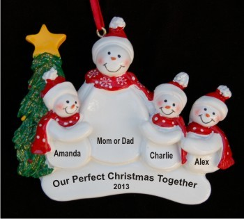 Holiday Celebrations Single SnowParent with 3 Child Christmas Ornament Personalized by Russell Rhodes