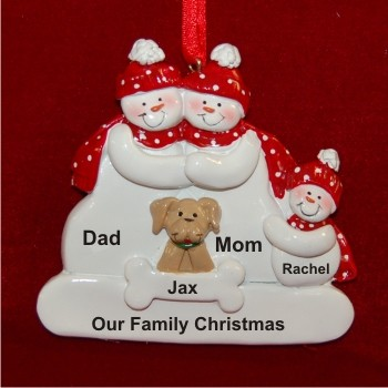 Snow Family of 3 with Tan Dog Personalized Christmas Ornament Personalized by Russell Rhodes