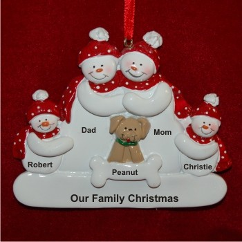 Snow Family of 4 with Tan Dog Personalized Christmas Ornament