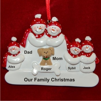 Snow Family of 5 with Tan Dog Christmas Ornament Personalized by Russell Rhodes