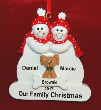 Couple with Tan Dog Christmas Ornament
