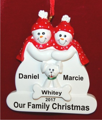 Couple with White Dog Christmas Ornament Personalized by Russell Rhodes
