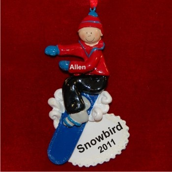 Boy Snowboarding Personalized Christmas Ornament
