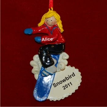 Blonde Girl Snowboarding Christmas Ornament