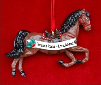 Chestnut Horse with Black Mane and Tail Personalized Christmas Ornament
