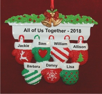 Festive Mittens for 7 Personalized Christmas Ornament Personalized by Russell Rhodes