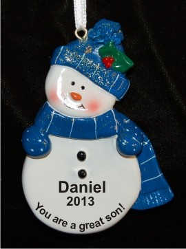 Blue Snowman for Son Christmas Ornament Personalized by Russell Rhodes