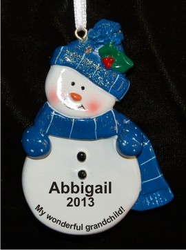 Blue Snowman for Grandchild Christmas Ornament Personalized by Russell Rhodes