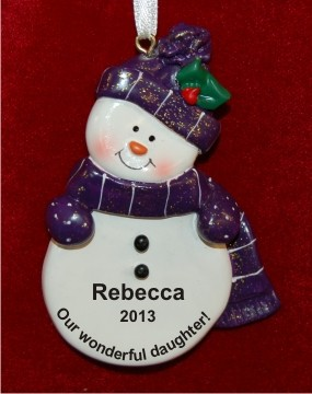 Purple Snowman for Our Daughter Personalized Christmas Ornament